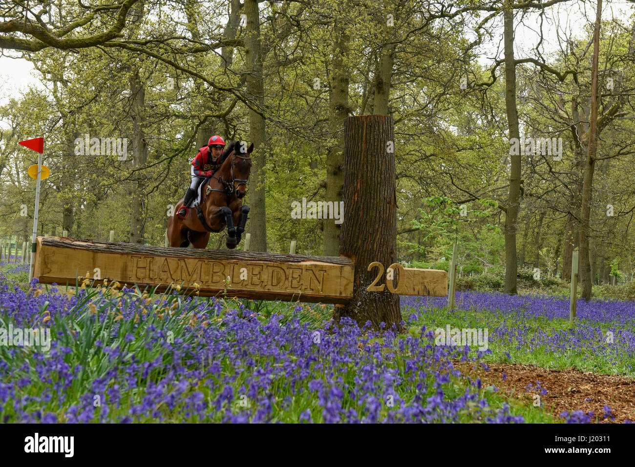 Henley on Thames, UK.  23 April 2017.  Participants take part in the Hambleden Horse Trials.  Celebrating its 20th Stock Photo