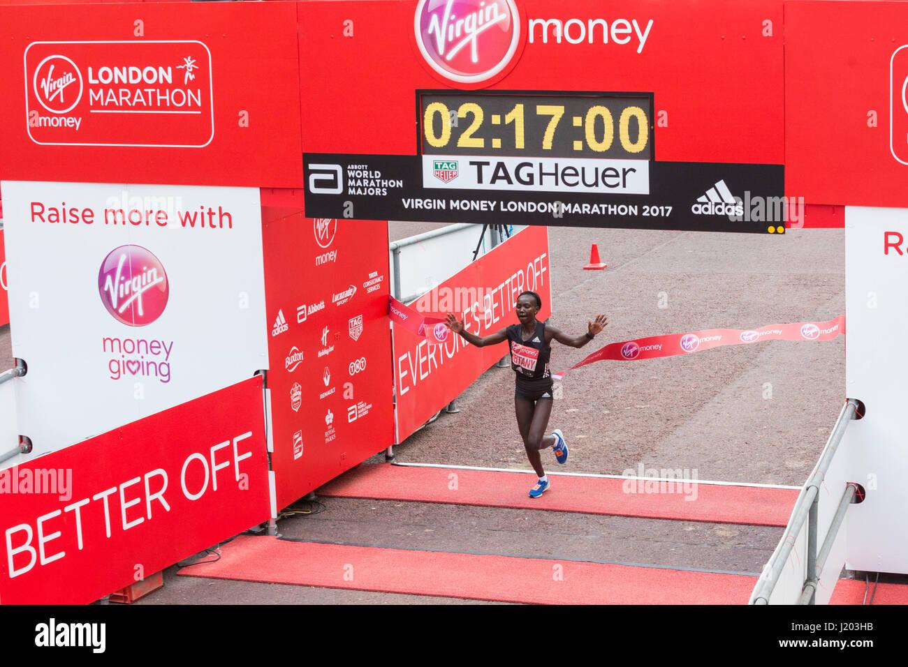 London, UK. 23rd Apr, 2017. Mary Keitany (KEN) wins the London Marathon. The 37th London Marathon finishes on the Stock Photo