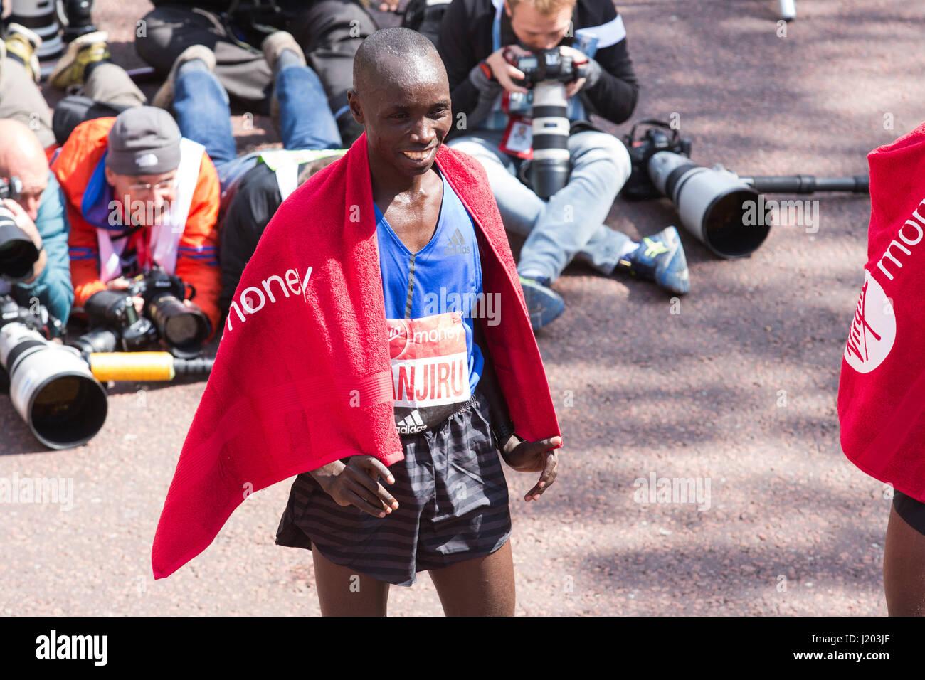 London, UK. 23rd Apr, 2017. Winner Daniel Wanjiru (KEN). The 37th London Marathon finishes on the Mall. Credit: Stock Photo