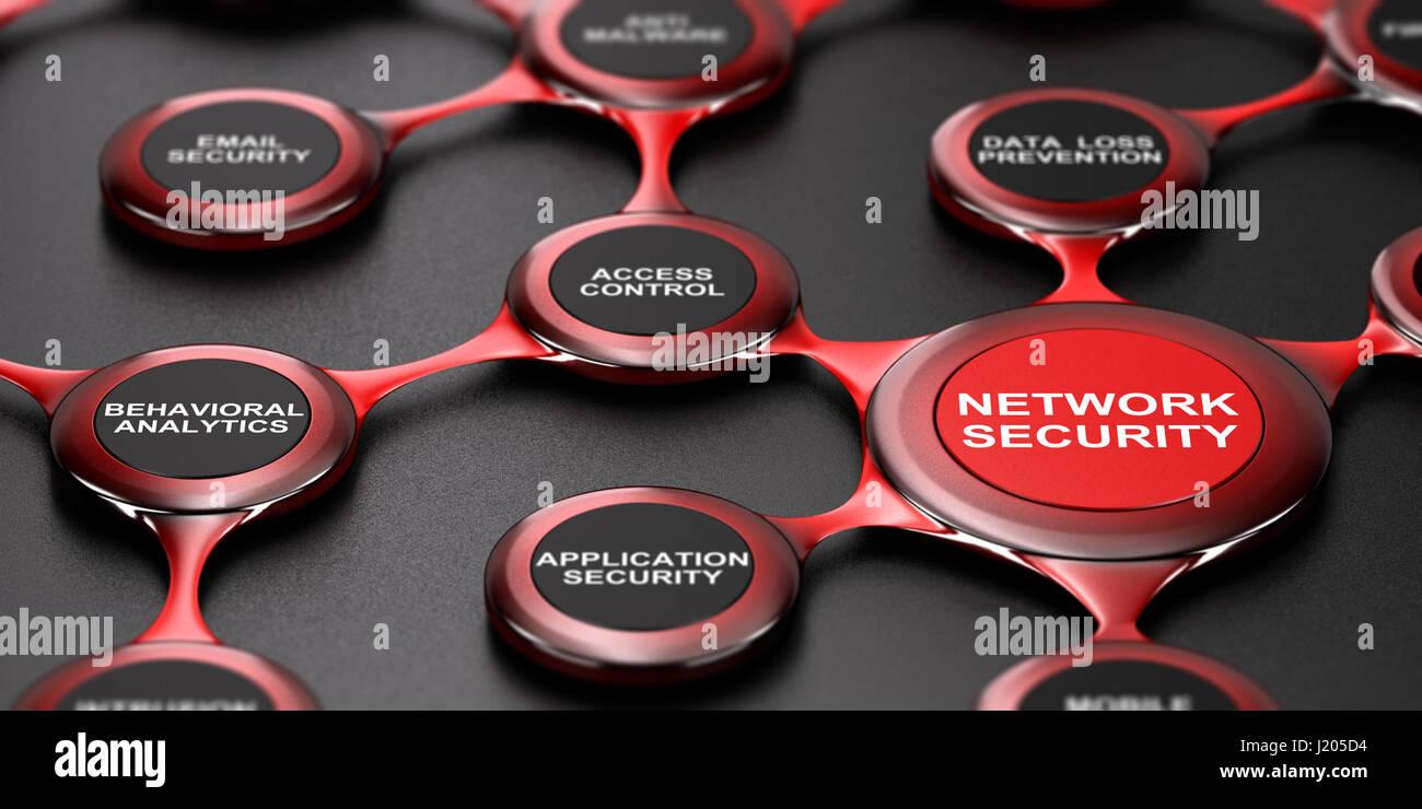 3D illustration of network security services over black background. Modern design. - Stock Image