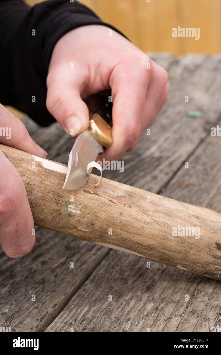 male hands using knife to carve into branch. Stock Photo