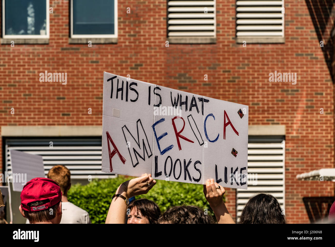 """A protester holds a sign at the Raleigh March for Science 2017 that reads """"This is what America looks like"""". Stock Photo"""