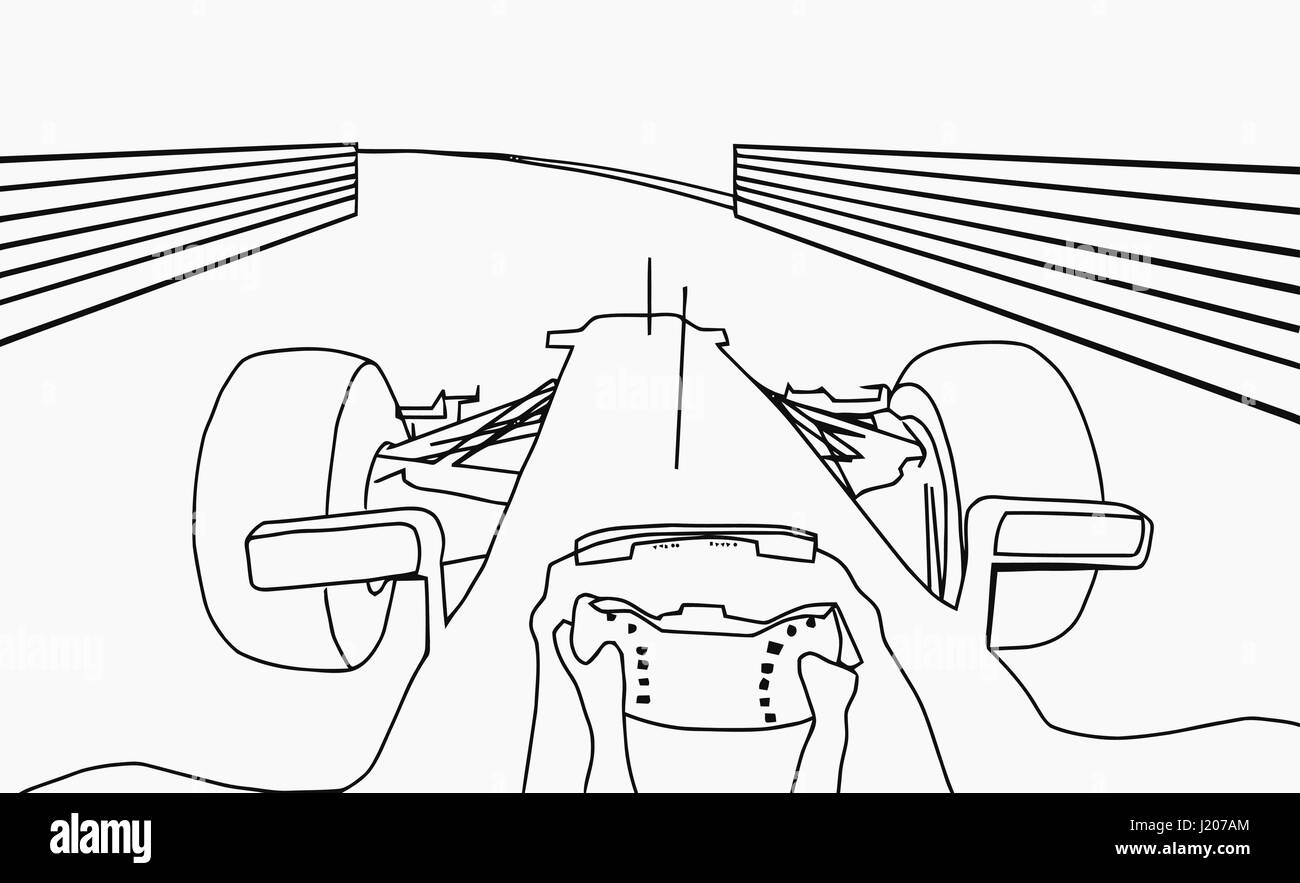 Silhouette Drawing Of F1 Racing Car Cockpit View Stock Vector Image Art Alamy