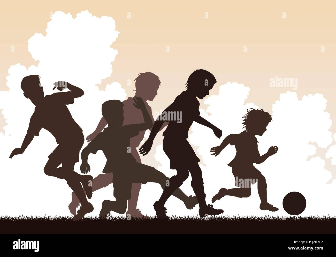 Editable vector illustration of a young boy beating older boys at football Stock Vector