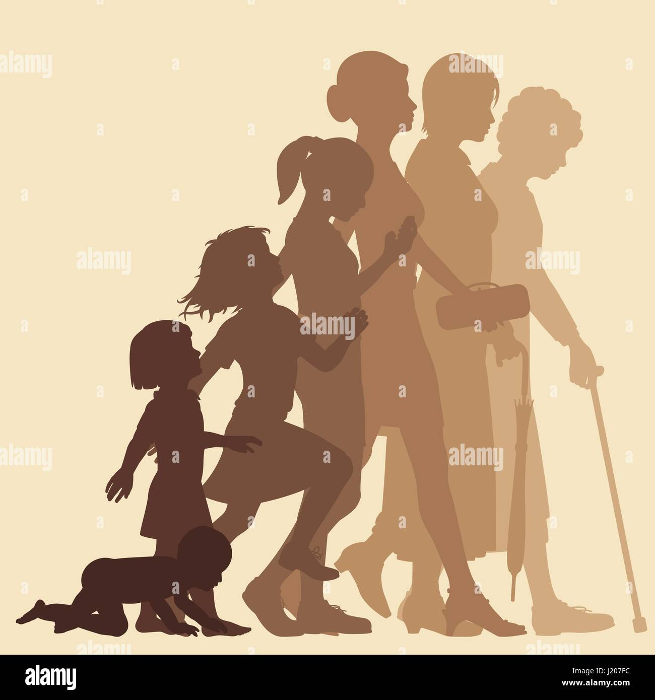 Editable vector silhouette sequence of the life stages of a woman with figures as separate objects - Stock Image