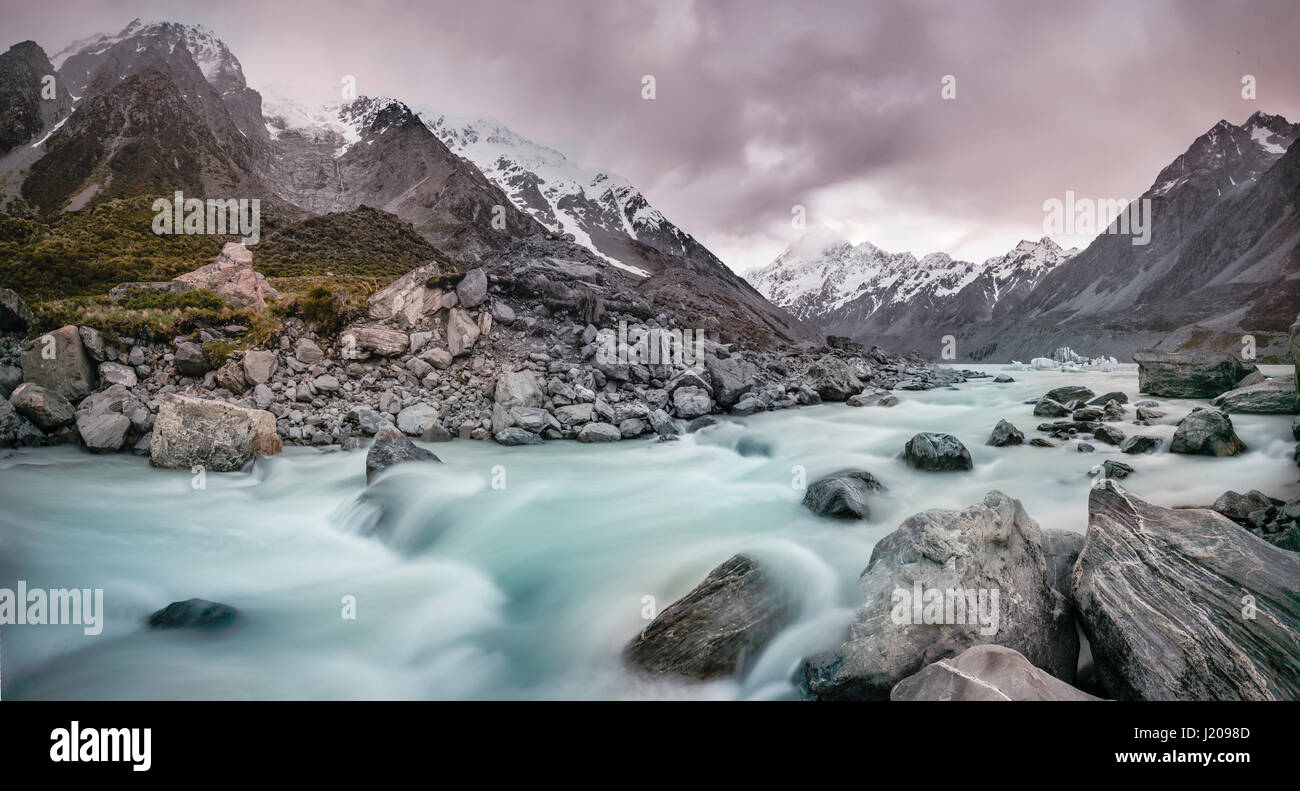 Hooker River, Hooker Valley, Rear Mount Cook, Mount Cook National Park, Southern Alps, Canterbury Region, Southland, Stock Photo