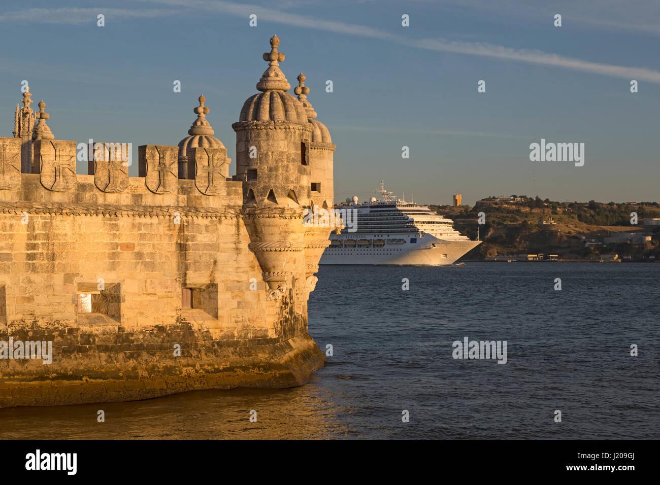 Torre de Belem, Belem Tower, Lisbon, Portugal, Europe - Stock Image