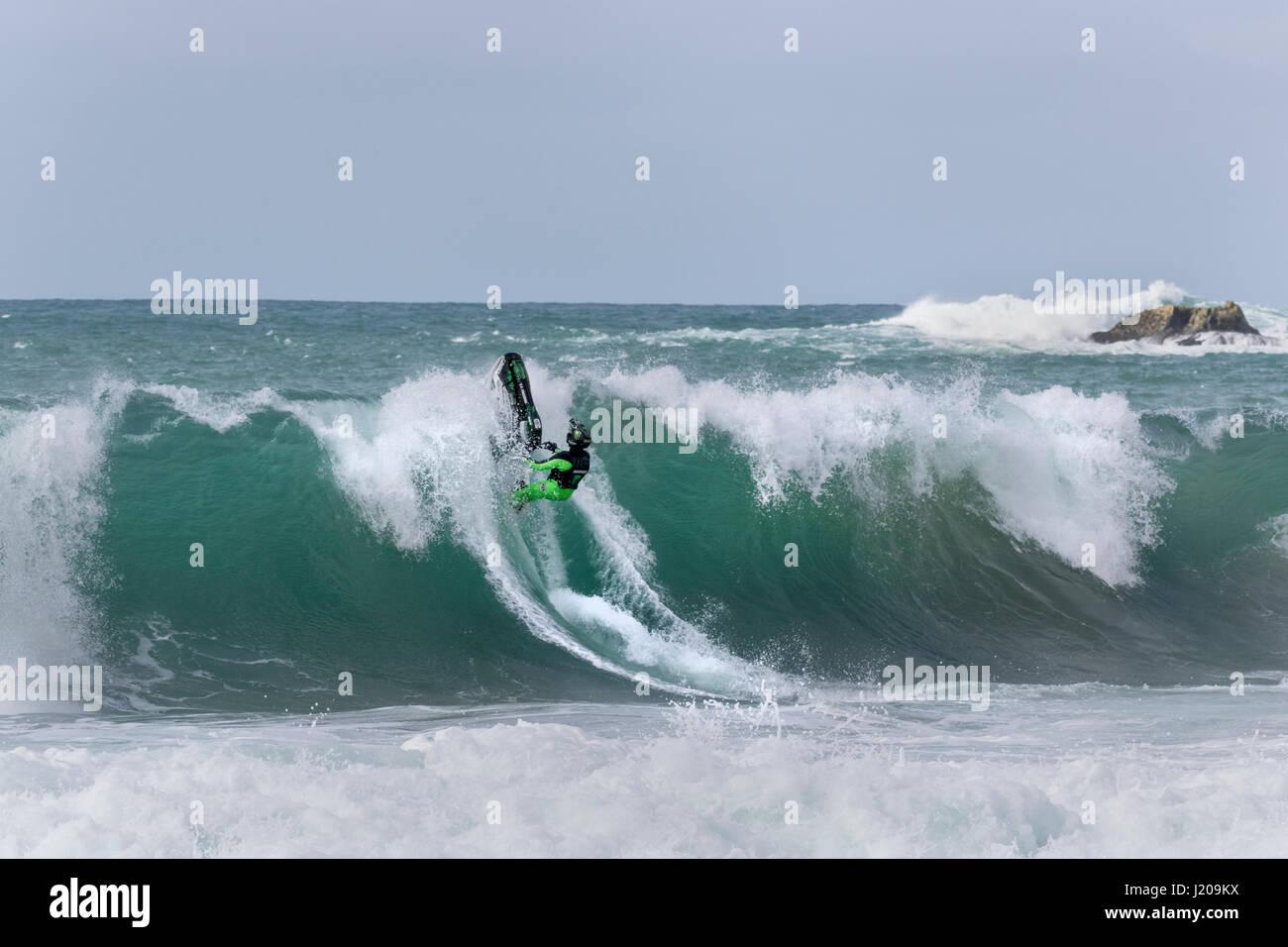 Jet Ski tricks, Atlantic Ocean, Portugal, Europe - Stock Image
