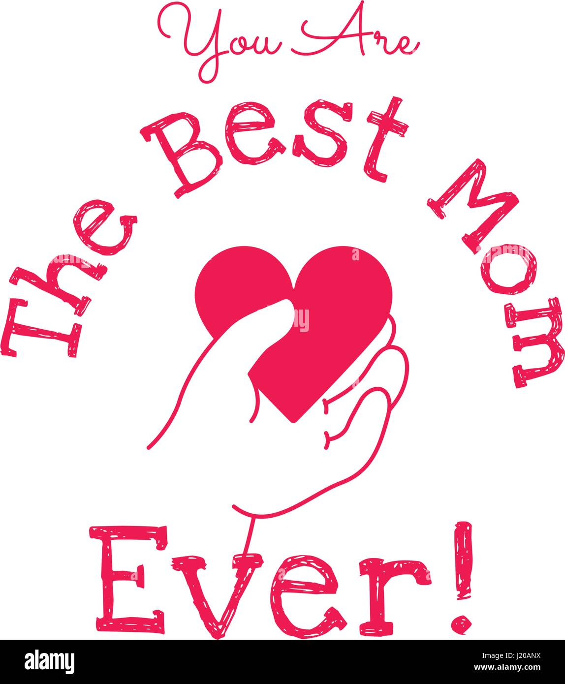 You Are The Best Mom Ever Happy Mothers Day Vector Design Element Greeting Card Template Child Hand Holding Heart Symbol Of Love