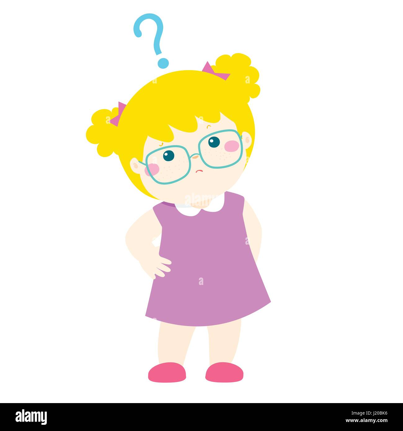 cute little girl blonde hair wear glasses wondering cartoon rh alamy com cartoon blonde girl drawing blonde cartoon girl hair
