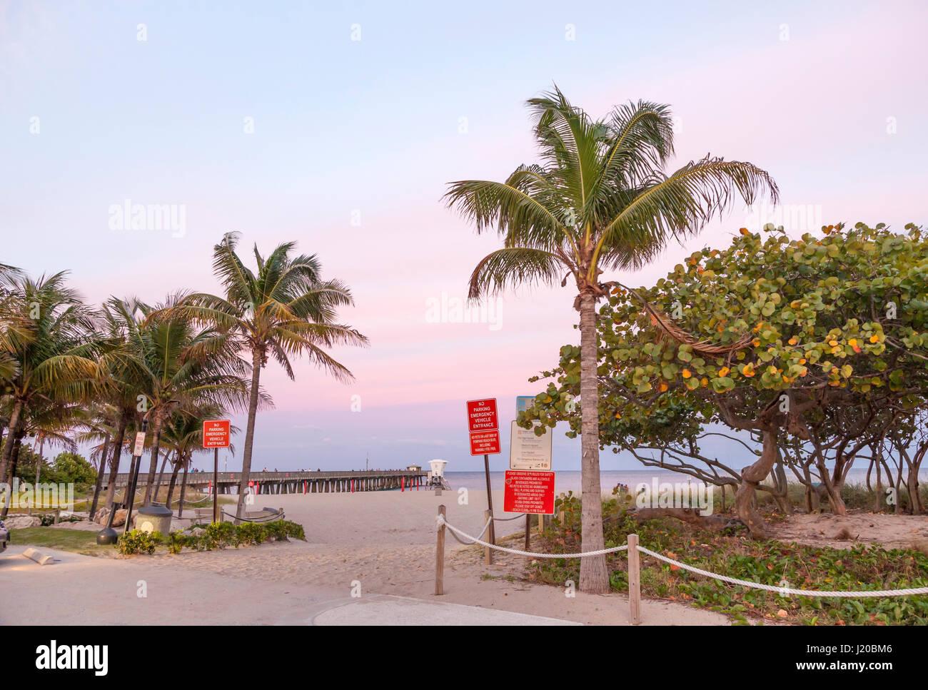Pompano Beach Pier at dusk. Florida, United States - Stock Image