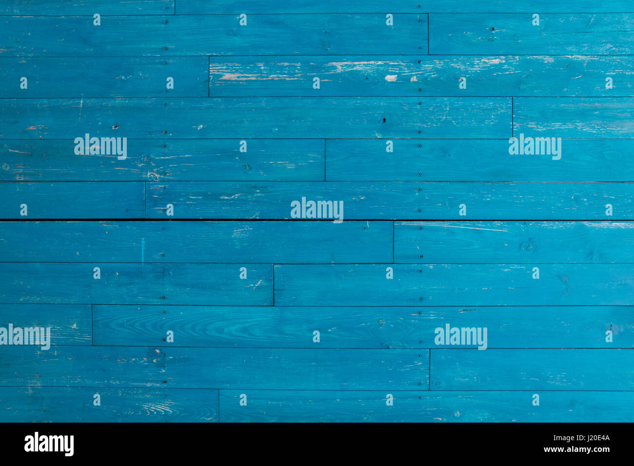 Blue or turquoise wooden planks - Stock Image
