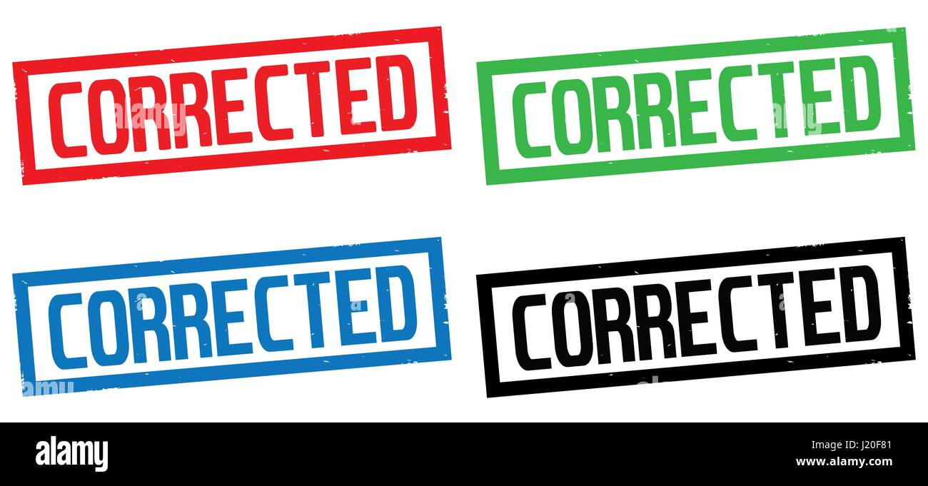 corrected text on rectangle border stamp sign in color set stock