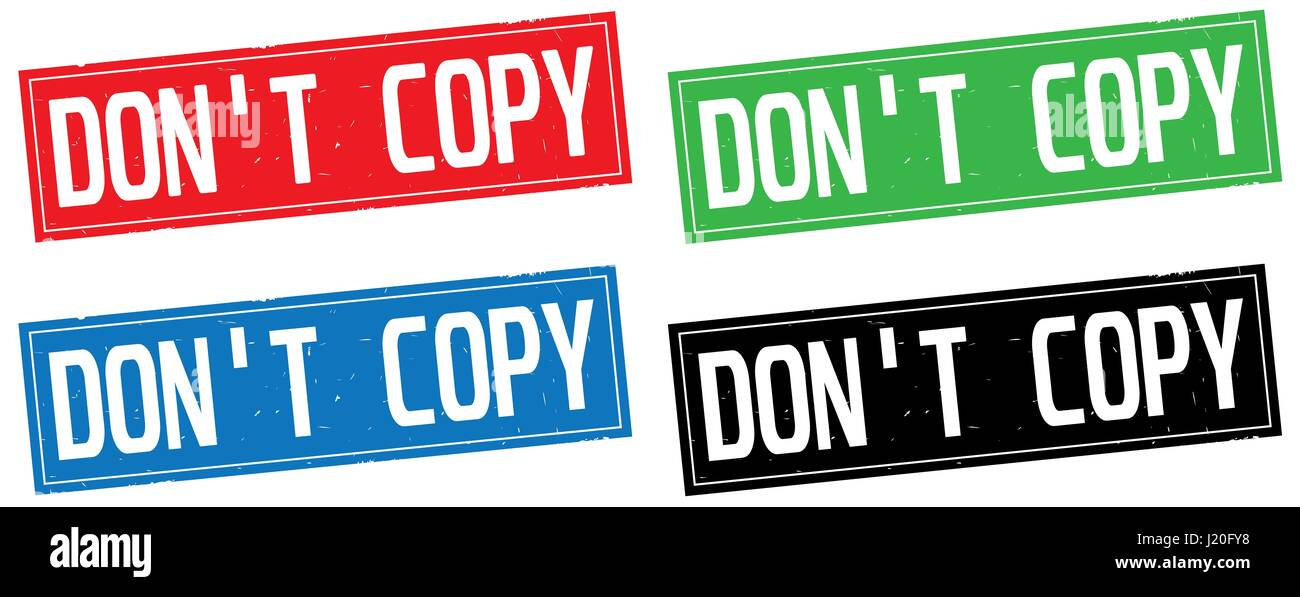 DON'T COPY text, on rectangle stamp sign, in color set. - Stock Image