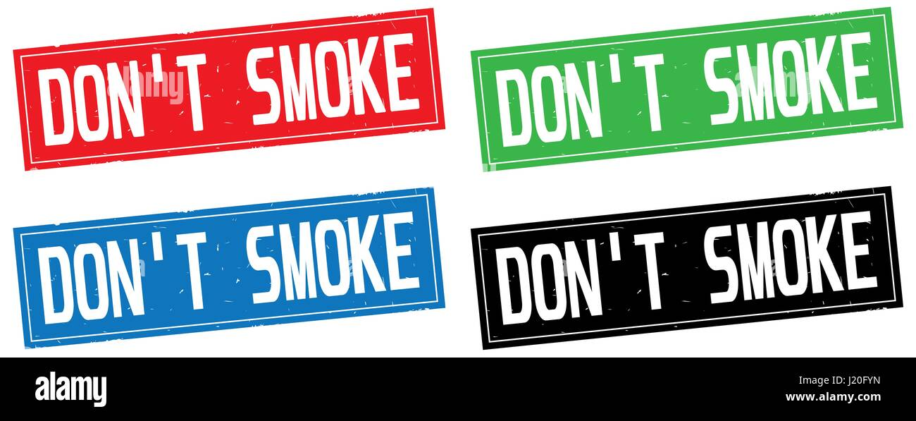 DON'T SMOKE text, on rectangle stamp sign, in color set. - Stock Image