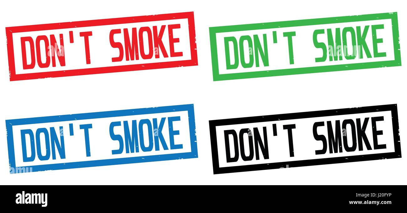 DON'T SMOKE text, on rectangle border stamp sign, in color set. - Stock Image