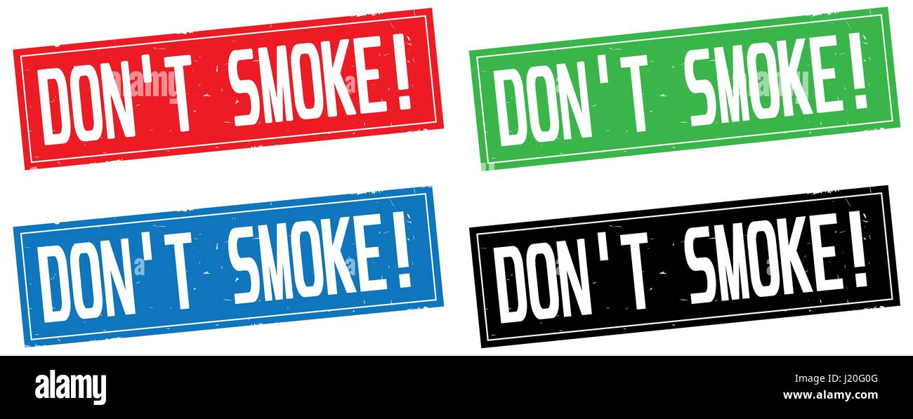 DON'T SMOKE! text, on rectangle stamp sign, in color set. - Stock Image
