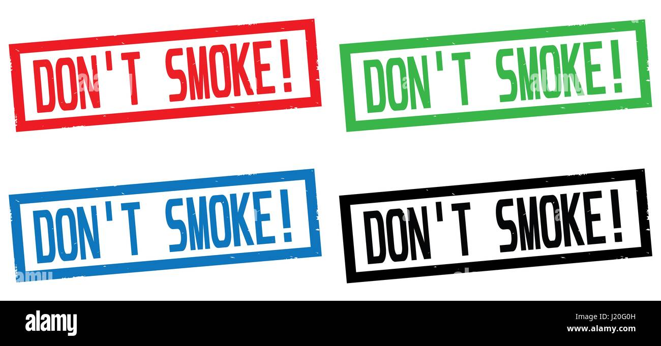 DON'T SMOKE! text, on rectangle border stamp sign, in color set. - Stock Image