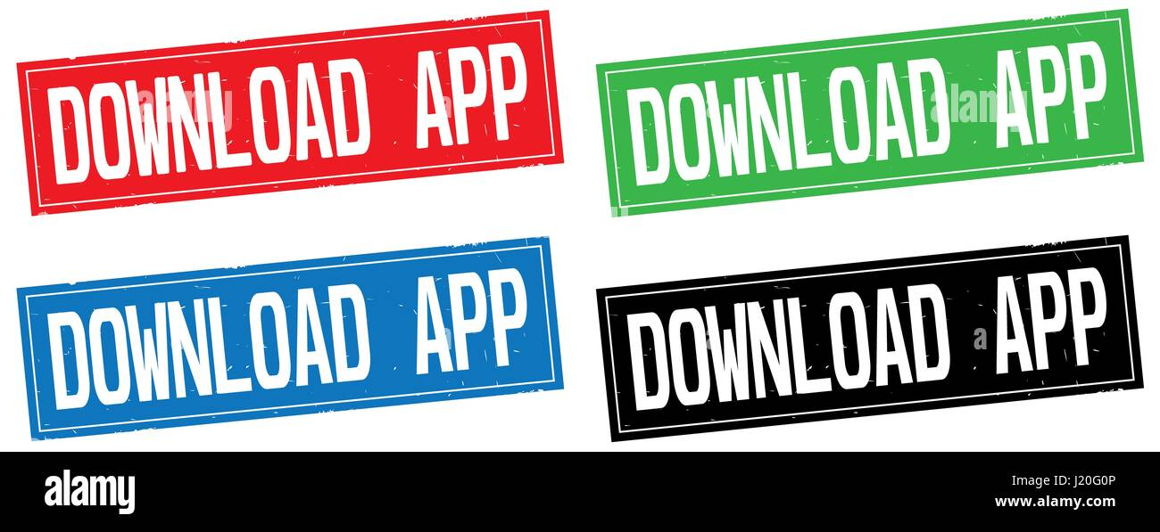 DOWNLOAD APP text, on rectangle stamp sign, in color set. - Stock Image