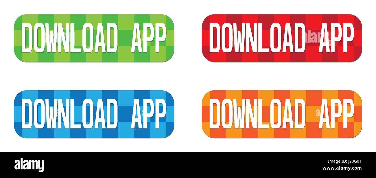 DOWNLOAD APP text, on rectangle, zig zag pattern stamp sign, in color set. - Stock Image