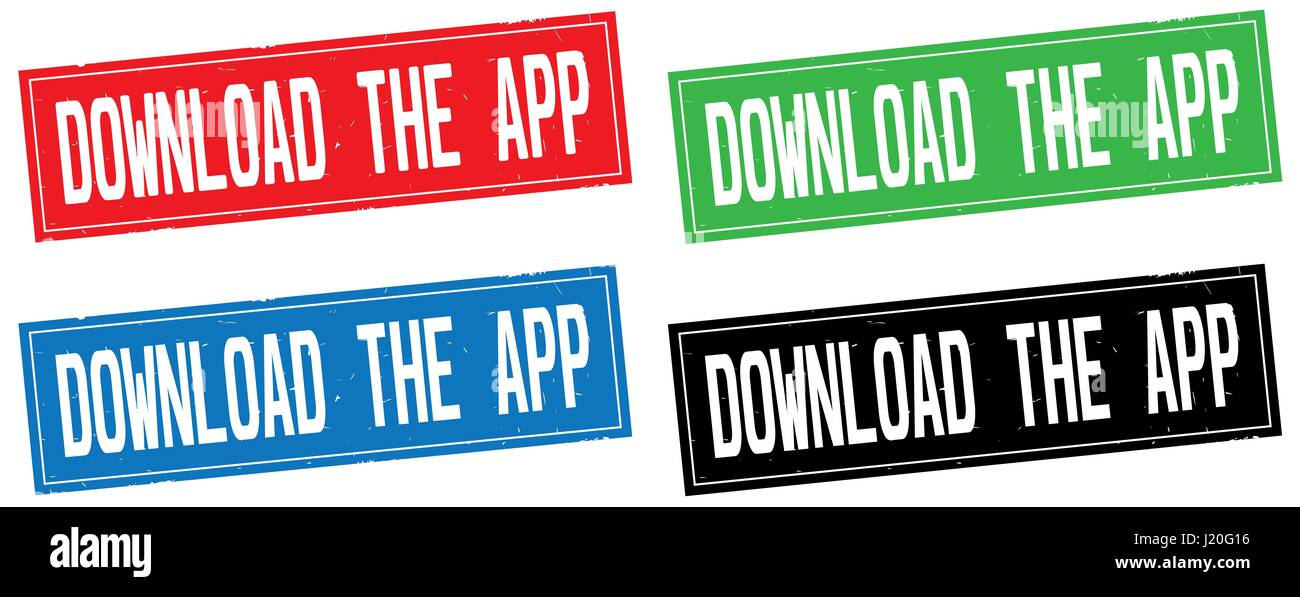 DOWNLOAD THE APP text, on rectangle stamp sign, in color set. - Stock Image