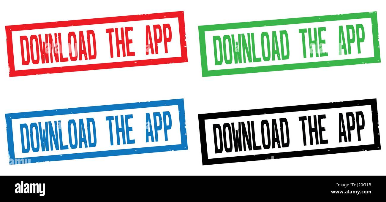 DOWNLOAD THE APP text, on rectangle border stamp sign, in color set. - Stock Image