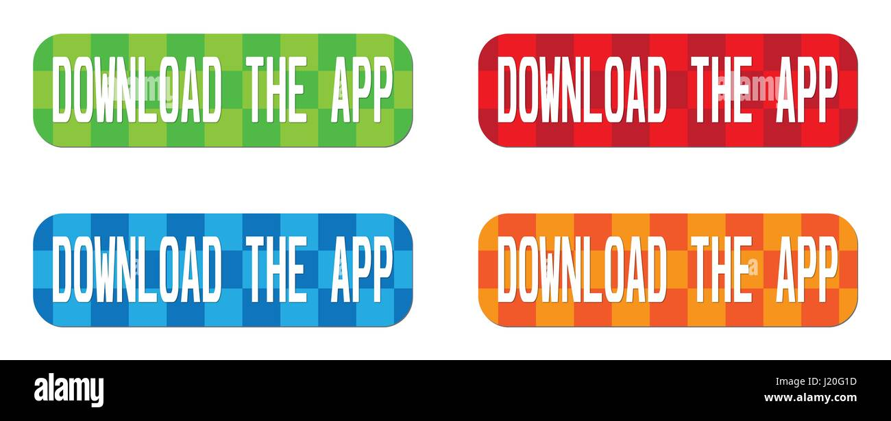 DOWNLOAD THE APP text, on rectangle, zig zag pattern stamp sign, in color set. - Stock Image