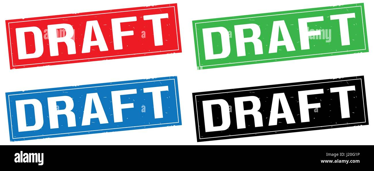 DRAFT text, on rectangle stamp sign, in color set. - Stock Image