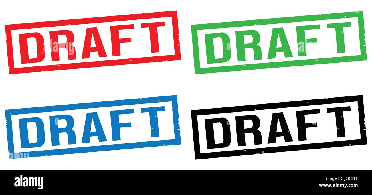 DRAFT text, on rectangle border stamp sign, in color set. - Stock Image