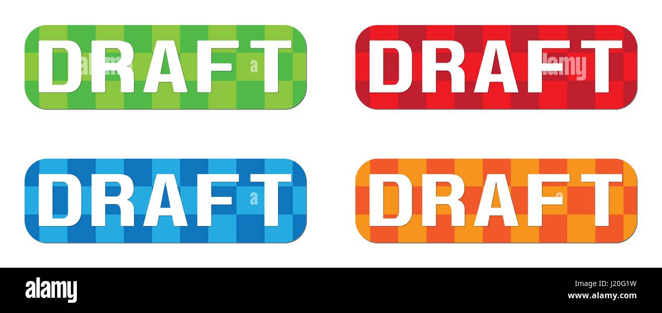 DRAFT text, on rectangle, zig zag pattern stamp sign, in color set. - Stock Image