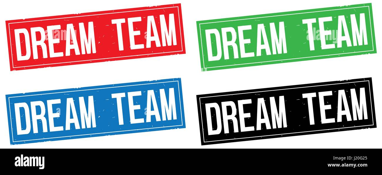 DREAM TEAM text, on rectangle stamp sign, in color set. - Stock Image