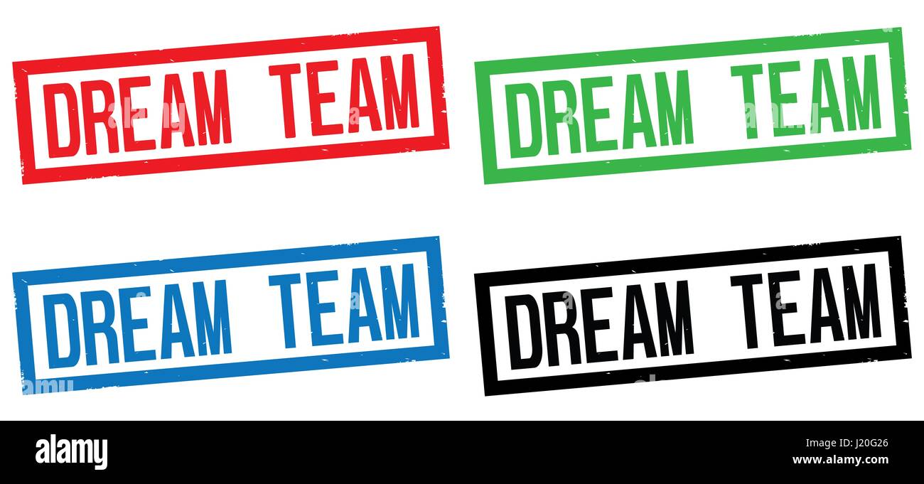 DREAM TEAM text, on rectangle border stamp sign, in color set. - Stock Image