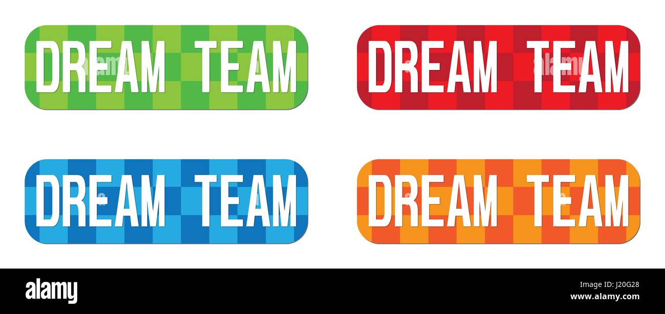 DREAM TEAM text, on rectangle, zig zag pattern stamp sign, in color set. - Stock Image