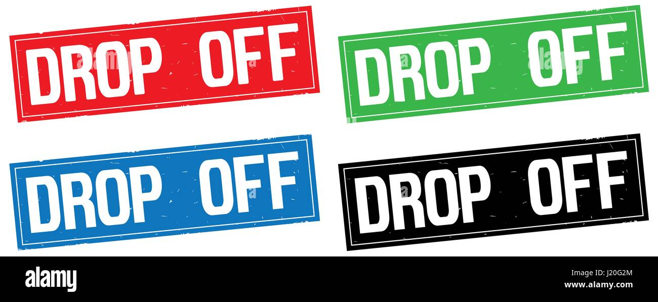 DROP OFF text, on rectangle stamp sign, in color set. - Stock Image