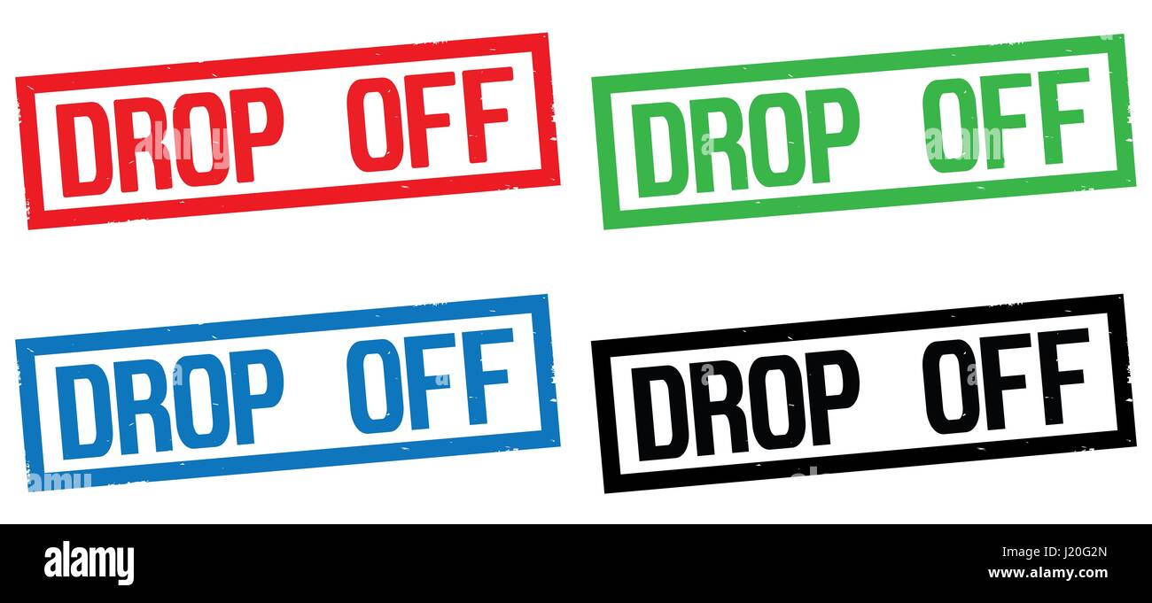 DROP OFF text, on rectangle border stamp sign, in color set. - Stock Image