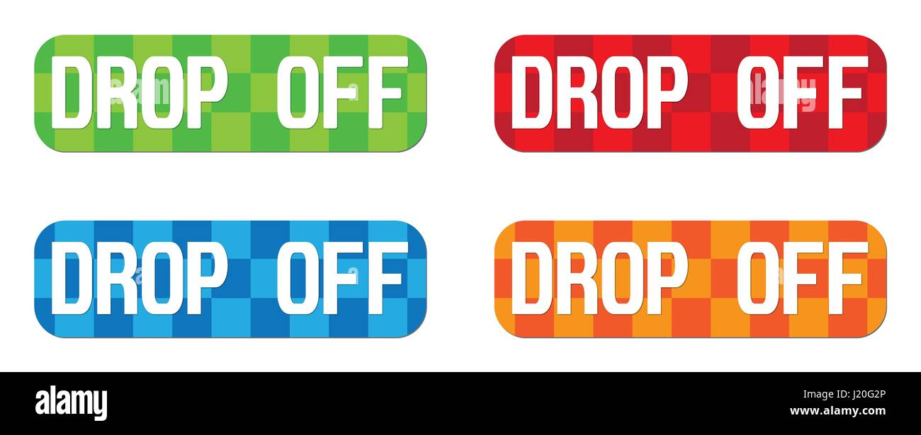DROP OFF text, on rectangle, zig zag pattern stamp sign, in color set. - Stock Image