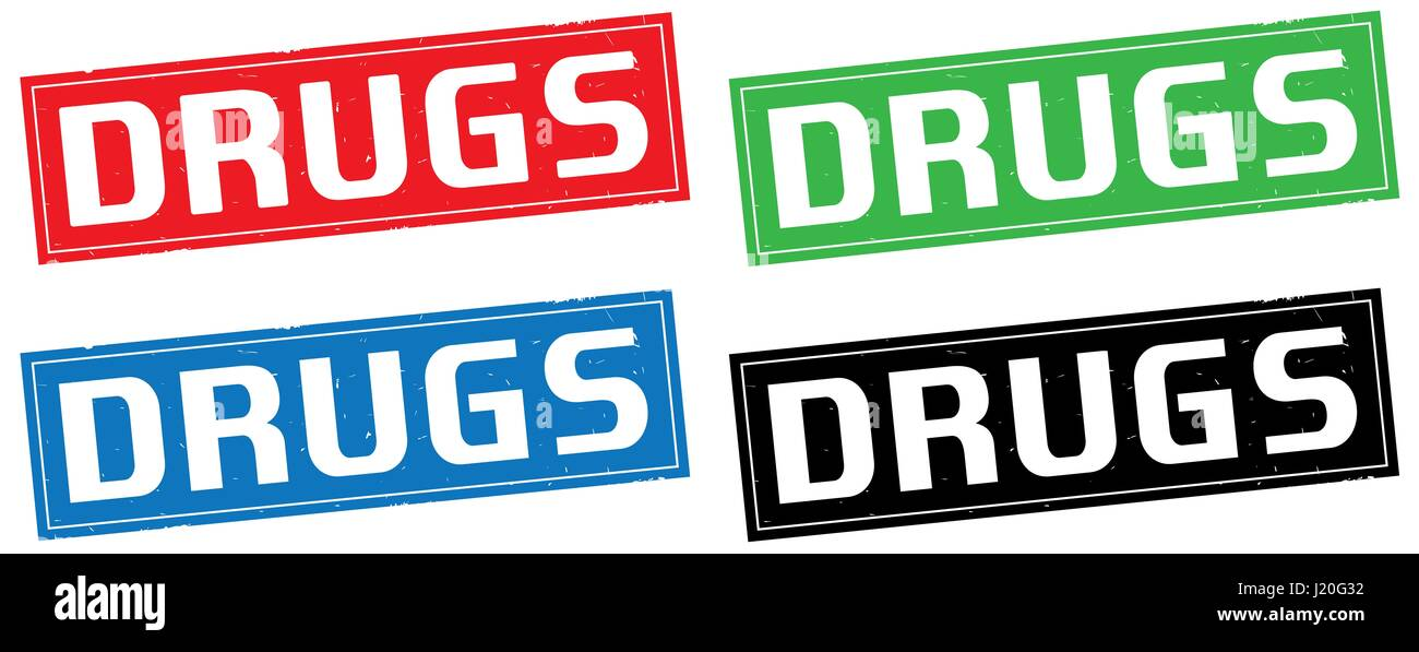 DRUGS text, on rectangle stamp sign, in color set. - Stock Image