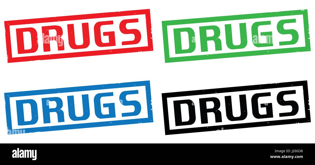 DRUGS text, on rectangle border stamp sign, in color set. - Stock Image