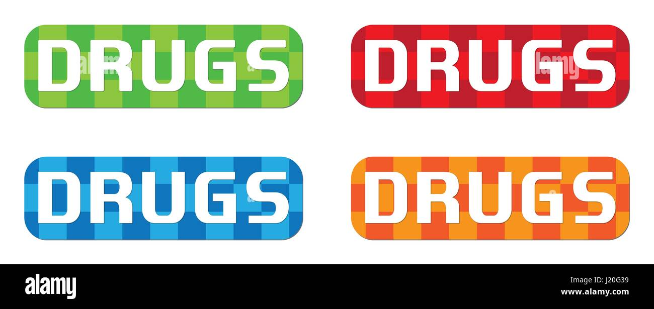DRUGS text, on rectangle, zig zag pattern stamp sign, in color set. - Stock Image