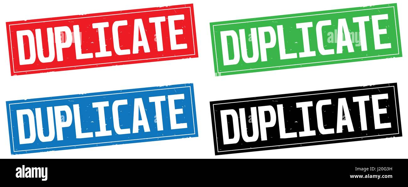 DUPLICATE text, on rectangle stamp sign, in color set. - Stock Image