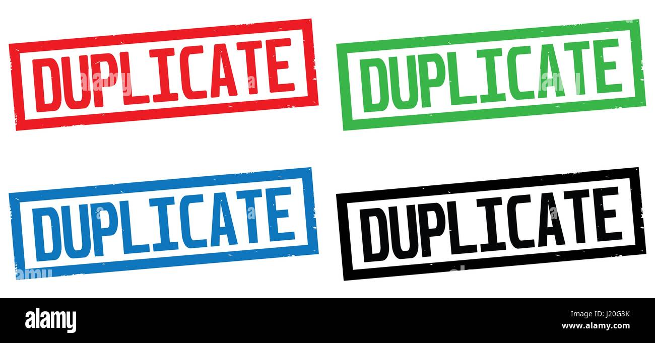 DUPLICATE text, on rectangle border stamp sign, in color set. - Stock Image
