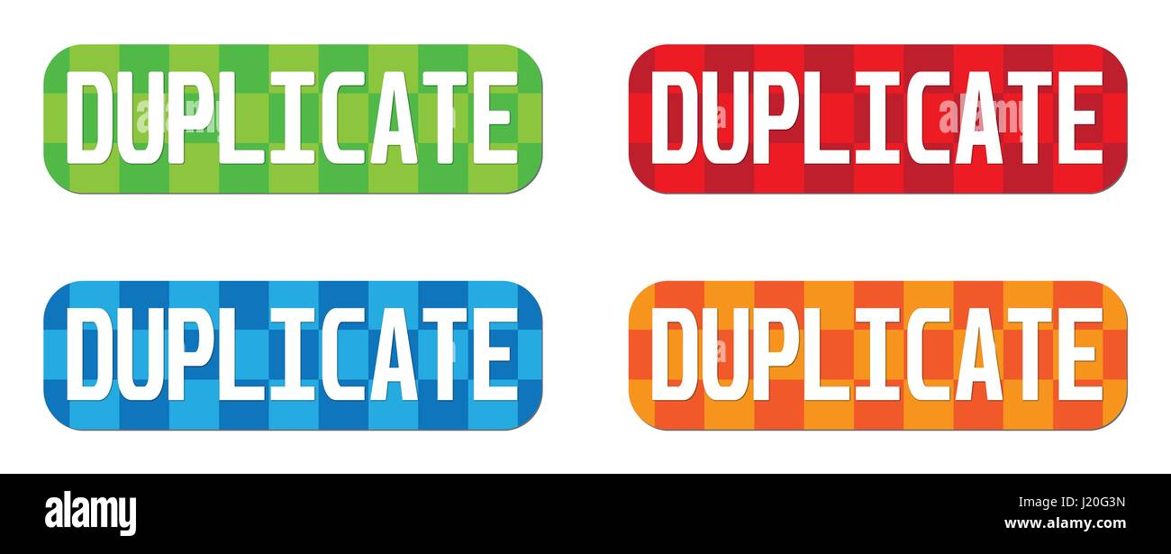 DUPLICATE text, on rectangle, zig zag pattern stamp sign, in color set. - Stock Image