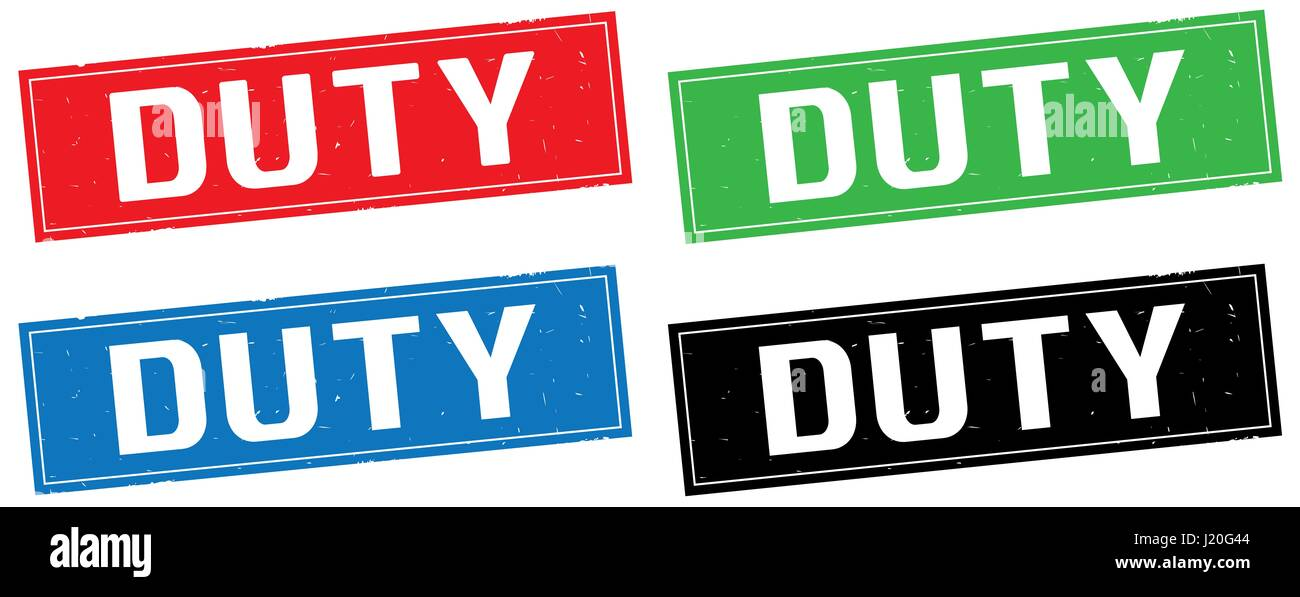 DUTY text, on rectangle stamp sign, in color set. - Stock Image