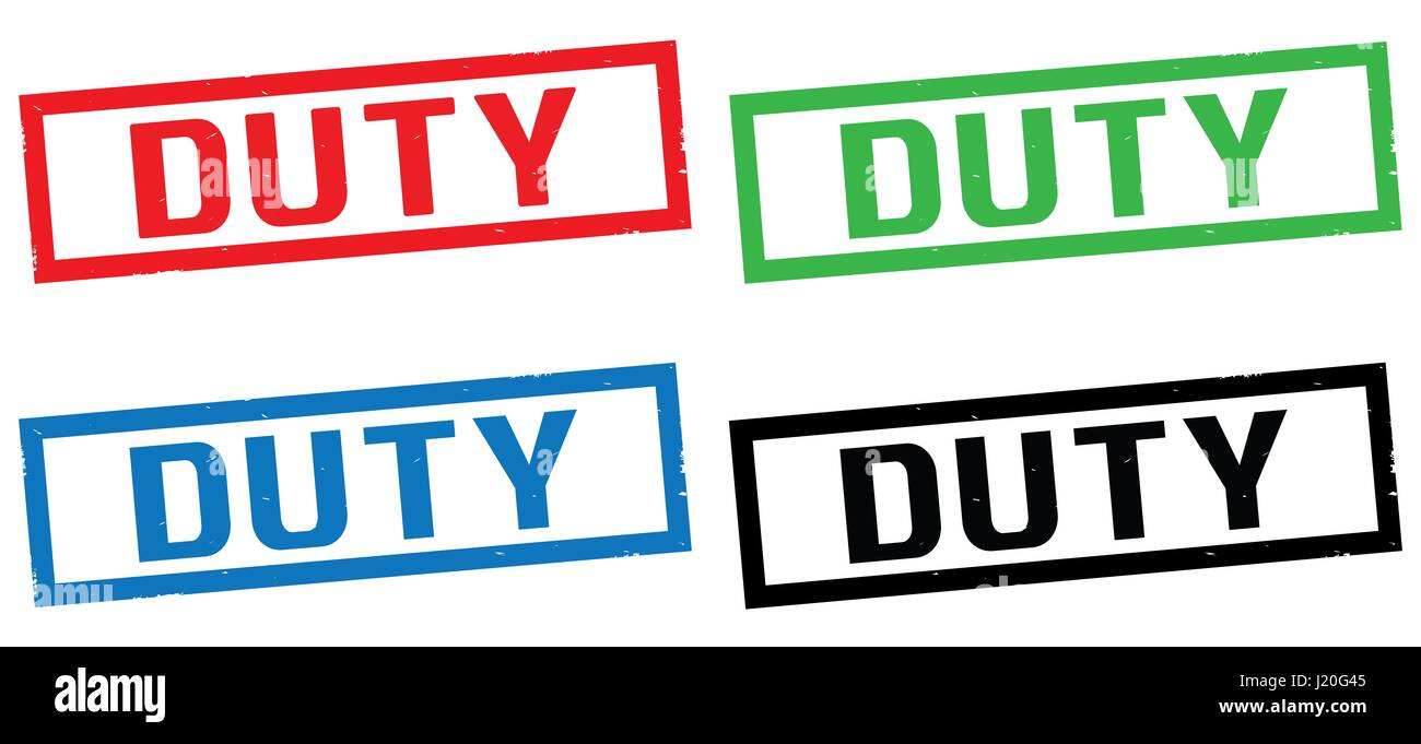 DUTY text, on rectangle border stamp sign, in color set. - Stock Image
