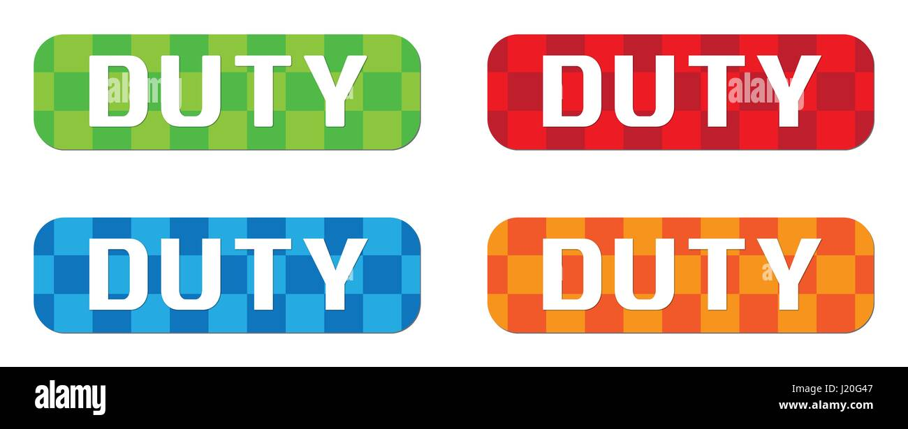 DUTY text, on rectangle, zig zag pattern stamp sign, in color set. - Stock Image