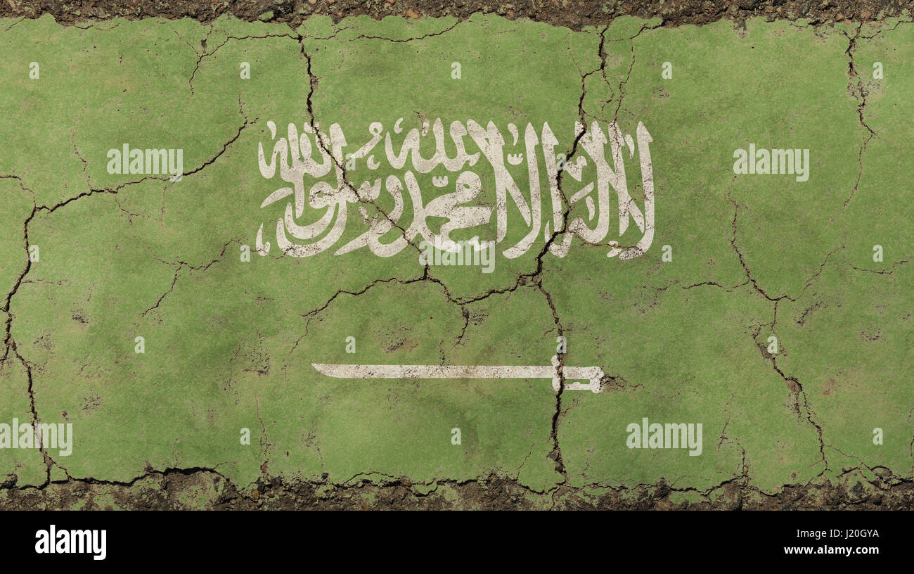 Old grunge vintage dirty faded shabby distressed Kingdom of Saudi Arabia, KSA green flag background on broken concrete - Stock Image
