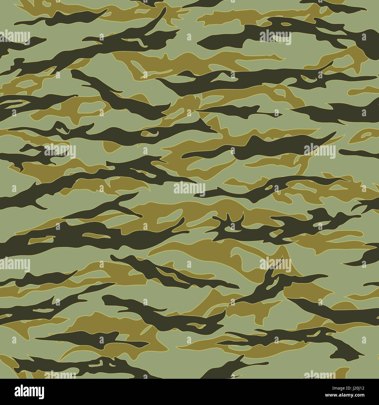 Forest Tiger stripe Camouflage seamless patterns. Vector Illustration. Stock Vector