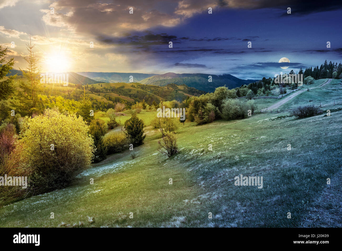 composite countryside landscape. day and night time change concept. forest in mountain rural area. grassy agricultural - Stock Image