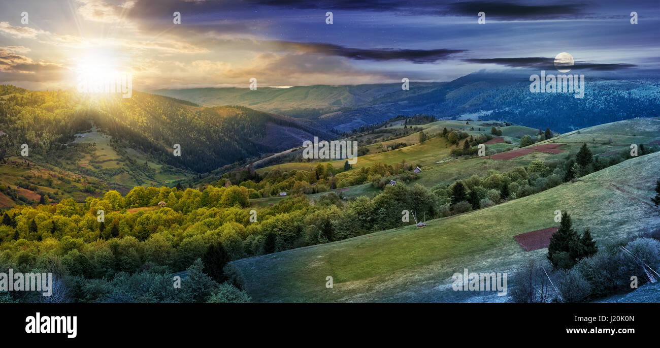 Panoramic rural landscape. Time change concept. day nad night change. forest in mountain rural area. green agricultural - Stock Image