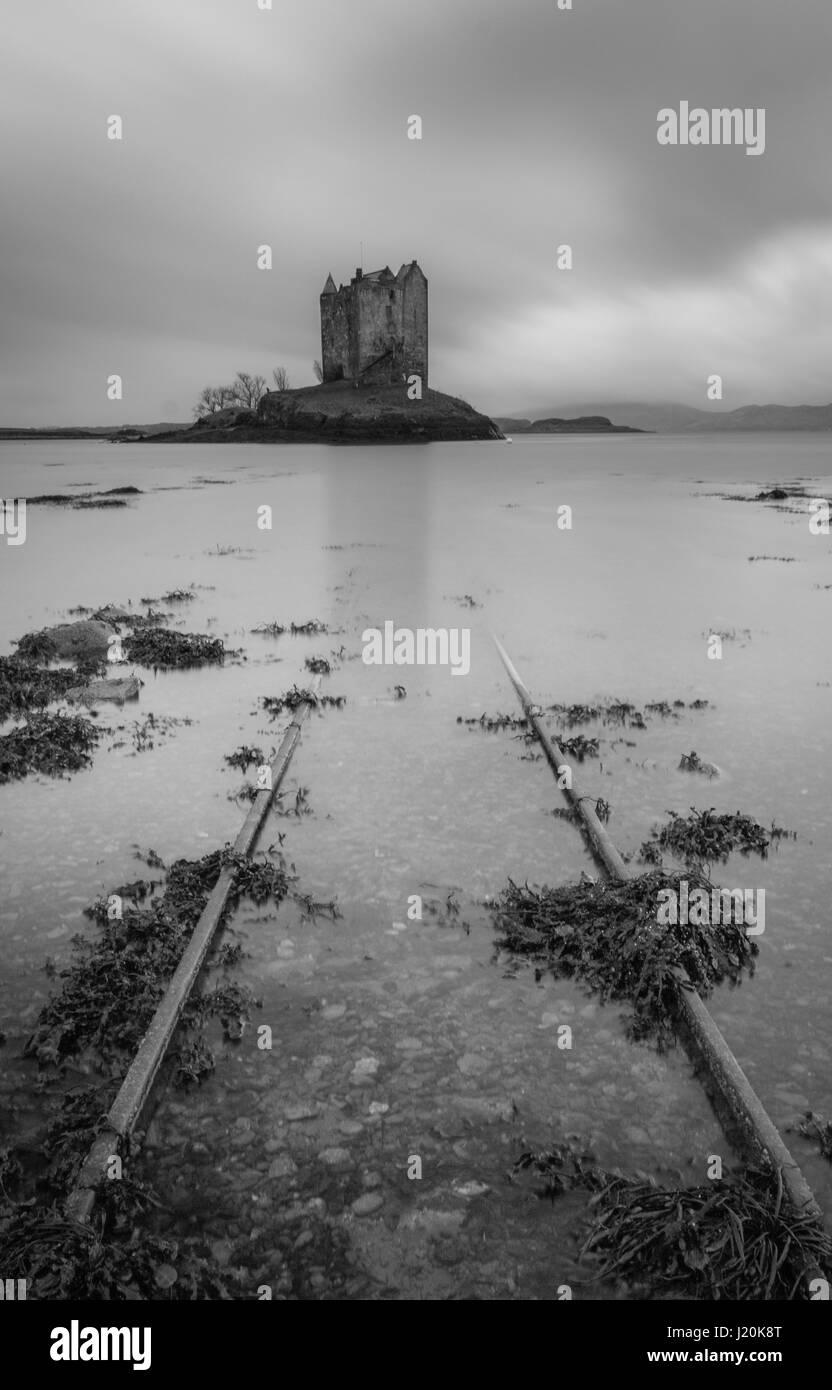 Castle Stalker b&w long exposure Stock Photo